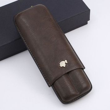 COHIBA Cigar Accessories Travel Cigar Leather Case Holder 2 TubesMini Portable Cigar Humidor Cigarette Case with GifT Box