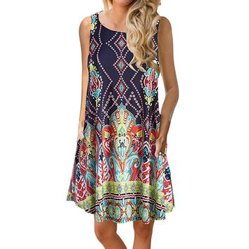 Bohemian style Women's Summer dress High Quality Casual Ladies girls Floral Printed Swing Dress Sundress with Pocket