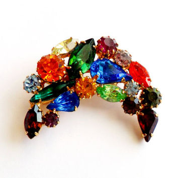 Fruit Salad Rhinestone Crescent Brooch Vintage Moon Prong Set Colorful Glass Foiled Stones Gold Tone High End Unsigned Beauty