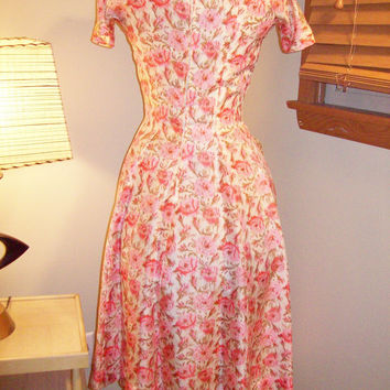 Vtg 50s 60s Bombshell Rockabilly Kitten Suzy Perette Rose Print Silk Cocktail Dress Mad Men VLV
