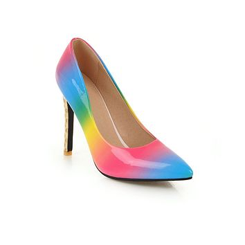 Rainbow High Heel Pointed Toe Stiletto Heel Pumps