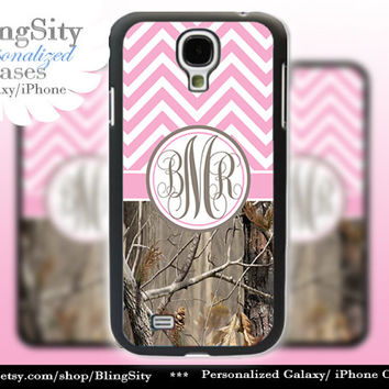 Monogram Galaxy S4 case S5 Pink Chevron Real Tree Camo Deer Personalized Samsung Galaxy S3 Case Note 2 3 Cover Zig Zag