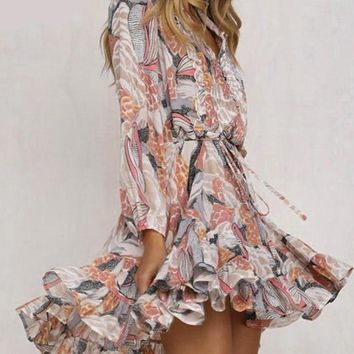 WildFlora Ruffle Chiffon Dress