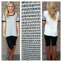 Oatmeal Black Braided Claire Blouse