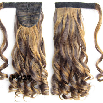 Ponytail Hair Extension Heat Proof Synthetic Wrap Around Invisable Long wavy Velcro Ponytail Hair Extension Clip In on Hair Pony Tail,Wig Hairpiece,woman wigs,wig hairs,Bath & Beauty,Accessories BIP-888 F4/27