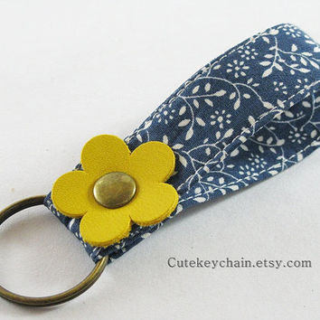 MINI Fabric Key chain, Fabric Wristlet Key Fob, Fabric Keyring, Keychain Wristlet With Yellow Leather Flower