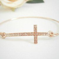 Sideways Cross Bracelet - Bangle Bracelets - Rose Gold Jewellery - Christian Jewelry - Pave Bracelets - Celebrity Inspired