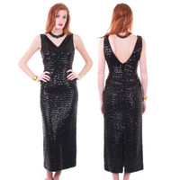 60s Vintage Sequin Wiggle Dress Sparkly Black Long Fitted Hourglass Maxi Bombshell Gown Retro Glam Holiday Cocktail Party Women Size XS