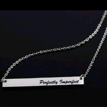 Stainless Steel Perfectly Imperfect Bar Necklace