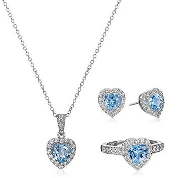 SHIP BY USPS: Sterling Silver Birthstone and White Topaz Halo Heart Earrings, Ring, and Pendant Necklace Jewelry Set