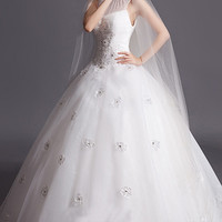 Fashion Turtleneck Tank Sleeveless Princess Floor length Beading Wedding Dress