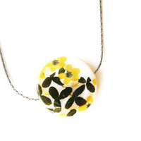 Women's Jewelry - Mother of Pearl Necklace, Mustard Yellow, Black, Simple Jewellery, Flowers, Oxidized Look Chain, Bridesmaids Gift, Shell