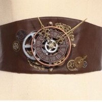rq-bl clockwork belt steampunk brown