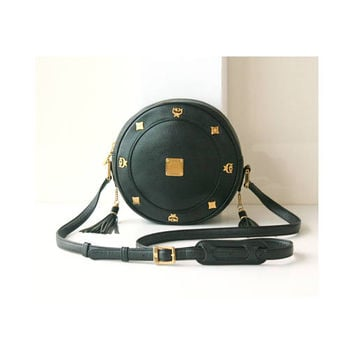MCM Tambourine Black Leather shoulder handbag authentic vintage Bag
