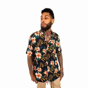 Tropical Print Button Up