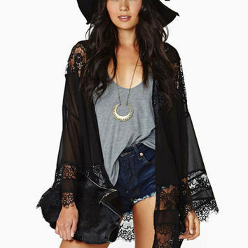 Black Lace Crochet Long Sleeve Chiffon Cardigan