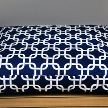 READY TO SHIP - Small Navy and White Trellis Dog Bed with Insert - Free Shipping