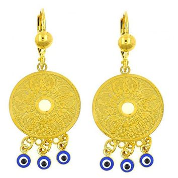 Gold Layered 02.211.0003 Chandelier Earring, Greek Eye Design, with Sapphire Blue Opal, Blue Enamel Finish, Golden Tone
