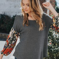 Ivy Waffle Knit Top, Charcoal