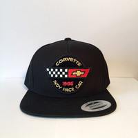 Corvette logo black custom snapback hat