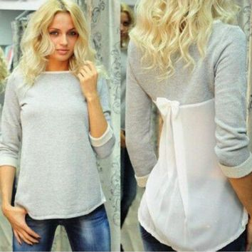 Gray Half-Sleeve Bow Chiffon Back Shirt