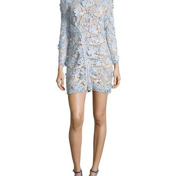 Self-Portrait 3-D Lily Guipure Mini Sheath Dress