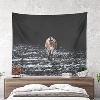 Wall Tapestry With Minimalistic Horse Photography Print, Animal Wall Art, Home Decor, Fine Art, Wall Decor, Dorm Decor, Gifts For Her, Art