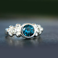 Topaz Engagement Ring London Blue Topaz and White Sapphires Ring Triple Stone Ring Sterling Silver Promise Ring December Birthstone Size 4