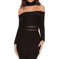 Bandage Off The Shoulder Dress - Black