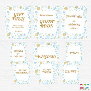 Blue and Gold Baby Shower Table Signs, 9 Baby Shower Signs, Printable Baby Shower Signs, Welcome, Guest Book, Drinks for Daddies CB0003-bg