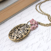 Filigree Locket Necklace Oval Antique Brass Light Purple Glass Flower Charms Pendant Photo Locket Keepsake Jewellery Secret Hiding Place