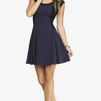 MIXED FABRIC FIT AND FLARE DRESS from EXPRESS