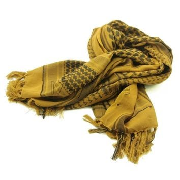 Coyote Brown 100% Cotton Arab Keffiyeh Shemagh Scarf Military Tactical Scarves Thickened Hijab Square Windproof Bandanas