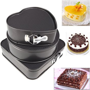 3Pcs/set Metal Cake Baking Pan Round Square Heart Shaped Non Stick Oven Baking Trays Cake Mold Bakeware Baking Tools