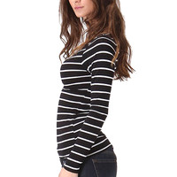 Long Sleeve Striped Boatneck Top