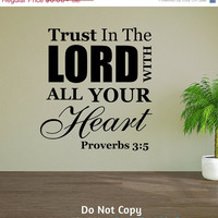 Holiday Sale: Personalized Word Art Vinyl Wall Decal Sticker Trust In The Lord With All Your Heart Proverbs Bible Verse Gift Faith Christian