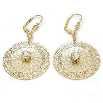 Gold Layered 090.006 Dangle Earring, Filigree and Flower Design, with White Crystal, Diamond Cutting Finish, Gold Tone