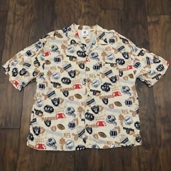 Authentic NFL Oakland Raiders All Over Print Rayon Hawaiian Shirt Mens XXL 2XL