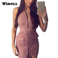 Wimuzz Faux Suede Leather Pink Dress Women Sexy Lace Up Sleeveless Bodycon Club Dress Summer Elegant Party Dresses