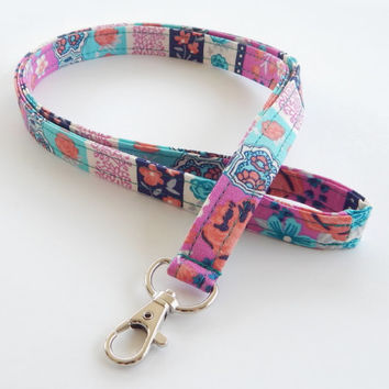 Floral Lanyard / Flowers / Keychain / Magenta Floral Print / Key Lanyard / ID Badge Holder / Teal & Pink / Pretty Lanyard / Fabric Lanyards