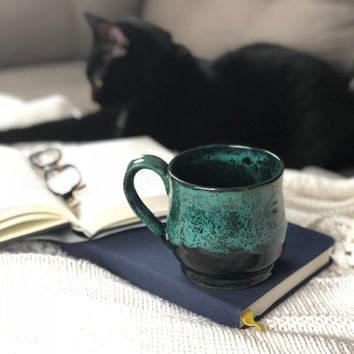 Black & Teal Peacock Mug, Pottery Mug, Handmade Mug, Ceramic Mug, Coffee Gift, Galaxy Mug, Coffee Mug, Cute Mug, Stoneware, Glaze Drip
