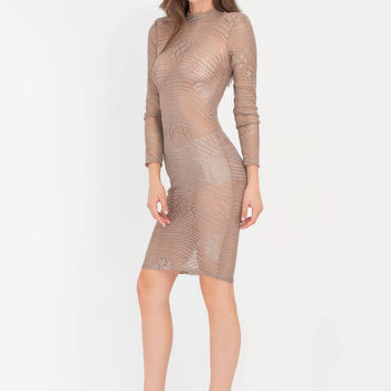 Sheer Luck Metallic Lace Midi Dress GoJane.com