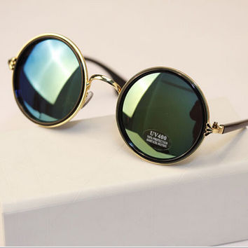 Fashion round box sunglasses vintage metal rack circle sunglasses mercury reflective big box prince's mirror