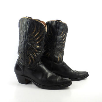 Inlay Cowboy Boots Vintage 1950s  Acme Black  Starburst 50s Leather Women's 6 1/2 A