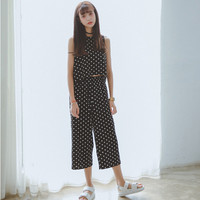 Polka Dots Sleeveless Hanging Blouse and Wide Leg Pants