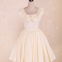 Jewel Neck Cotton School Lolita Dress with Ruffles (X-Small)