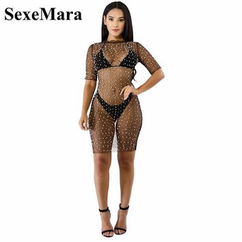SexeMara Black Pearl Embellished Mesh Sexy Bodycon Dress Summer Beach Outfit Bead White Mini Party Dress Sexy Club Wear D35-AA55
