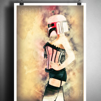 Star wars pinup girl, Boba Fett pinup art, star wars watercolor art print