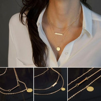 Gold Chain 3 Layers Geometry Bead Charm Choker Statement Bib Necklace Jewelry (Color: Gold) = 1946668356