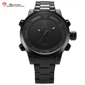Digital Gulper Shark Sport Watch Dual Movement LED Calendar Alarm Quartz Men's Military Watch